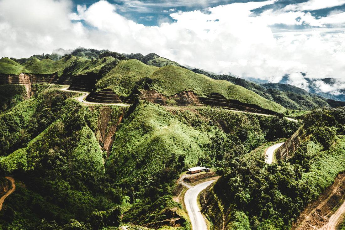 Mountain road in laos going to Pakbeng